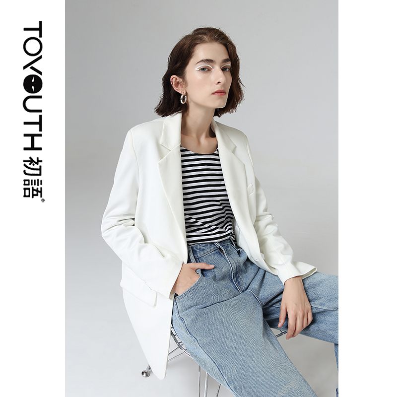 Toyouth Office Ladies Single Button Blazers Long Sleeve Suit Collar Coat Fashion Solid Workwear Blazers Women