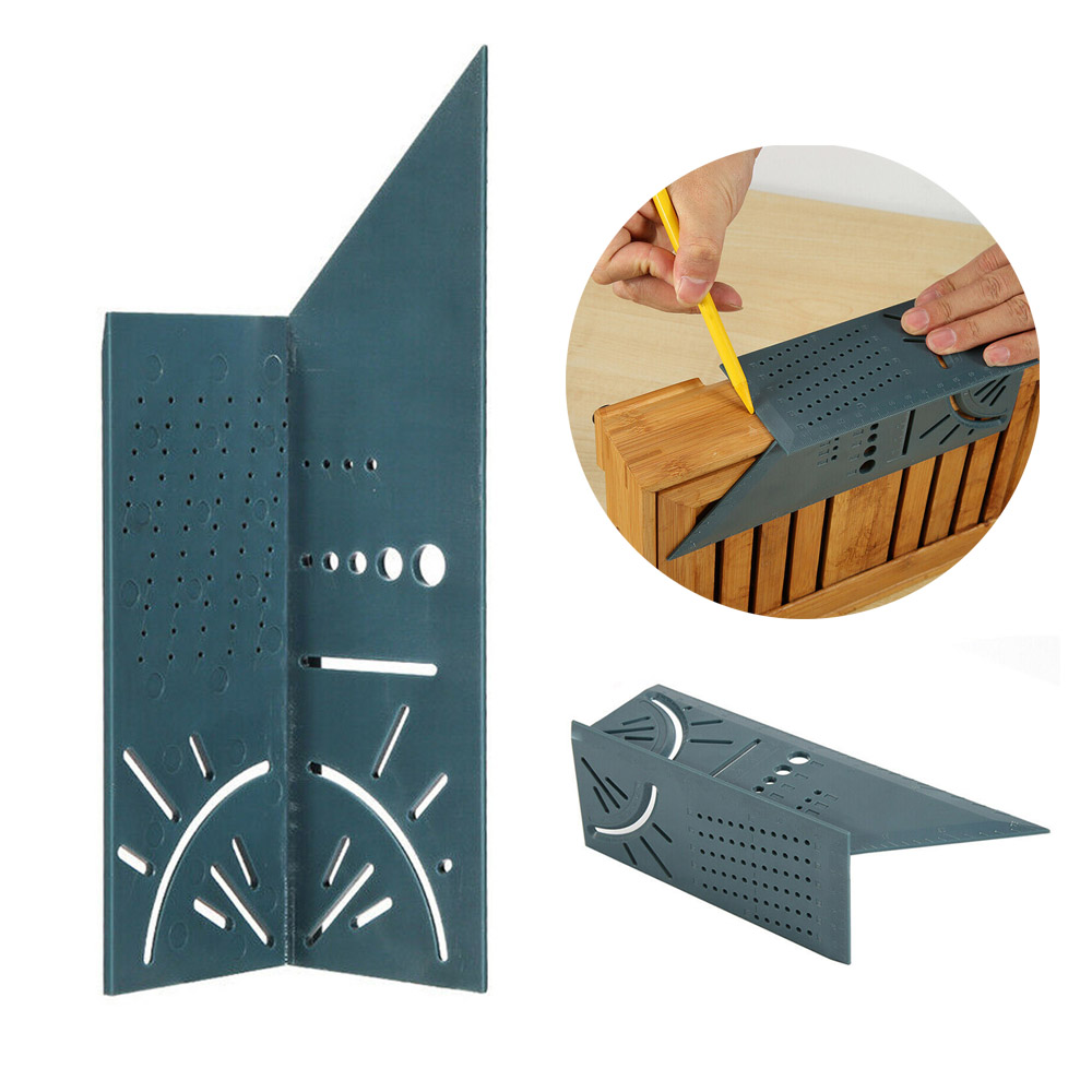 Woodworking 3D Mitre Angle Measuring Ruler Square Size Measure Tool With Gauge Ruler Tools Woodcraft Scribe T-type 90 Degree B4