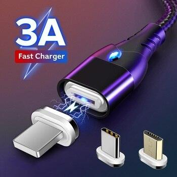 GETIHU 2m câble magnétique rapide 3A pour iPhone 11 Samsung chargeur Charge rapide 3.0 Micro USB type C aimant téléphone Charge données cordon
