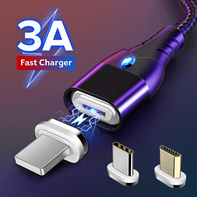 GETIHU 2m Magnetic <font><b>Cable</b></font> Fast 3A For iPhone XS Samsung Charger Quick Charge <font><b>3</b></font>.0 Micro USB Type C Magnet Phone Charging Data Cord image