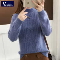 Vangull Half-Turtleneck Knitted Sweater Women Long Sleeve Thick Soft Female Pullovers 2019 Winter Warm New Solid Bottoming-shirt