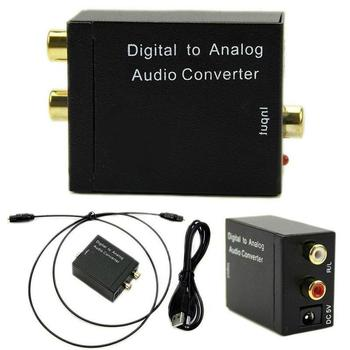 HD 1080P Audio Splitter Digital Optical Coax To Analog RCA L/R Audio Converter Adapter With Fiber Cable & USB Cable & Mainframe image