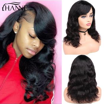 цена на HANNE Brazilian Remy Body Wave Wig100% Human Hair Wigs With Bangs Natural Black Color for Black/White Women's Hair Free Shipping