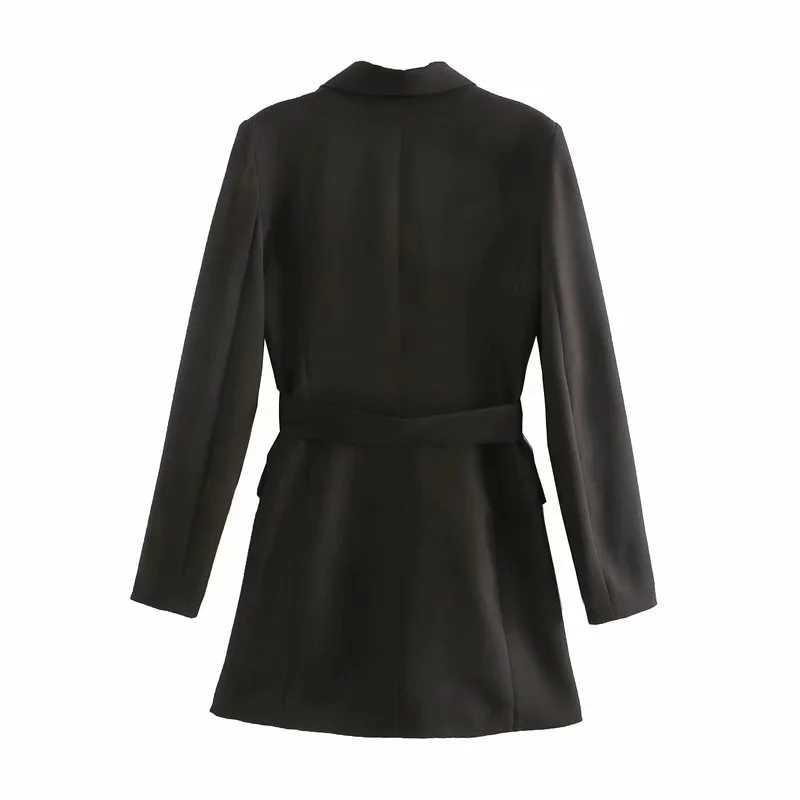 Vrouwen 2020 Fashion Lange Mouw Kantoor Slijtage Vrouwelijke Bovenkleding Vintage Met Riem Double Breasted Blazers Elegante Jas Chic Tops