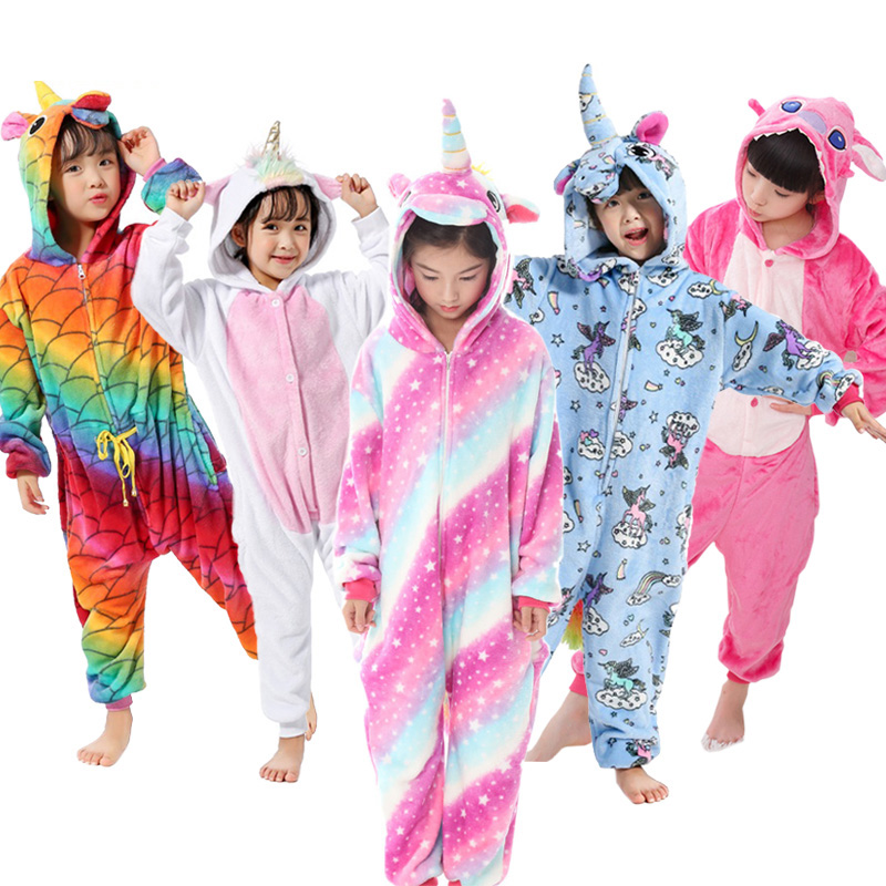 Pajamas Sleepwear Onesies Animal Stich Girls Kids Boys Children's Flannel for Unicorn title=