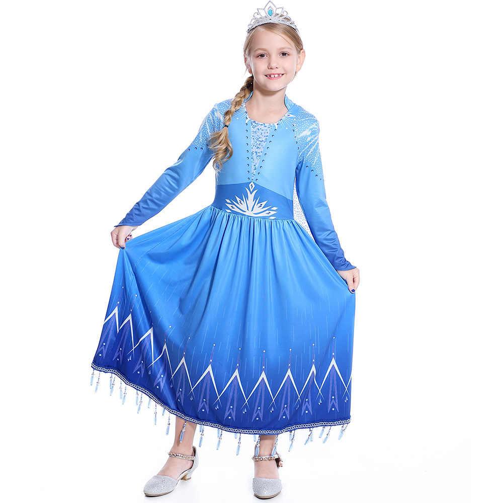 В 2020 году, Новое Детское платье Эльзы для взрослых Холодное сердце 2 Рождественский комплект косплей Эльза день рождения синий вечернее платье родитель-ребенок комплект