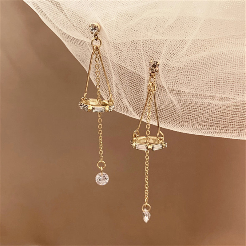 2020 Luxury Geometric Crystal Zircon Long Dangle Earrings For Women Wedding Luxury Designer Jewelry Tassel Earrings Accessories