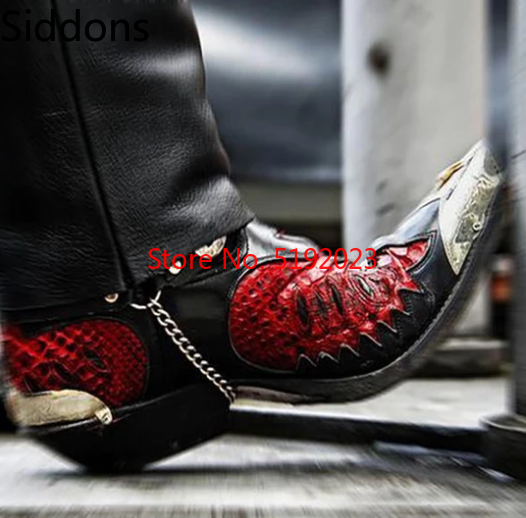 MEN'S BLACK RED COLLISION PATTERN FASHION METAL RING BUCKLE GOLD POINTED HIGH QUALITY LEATHER BOOTS D334-1