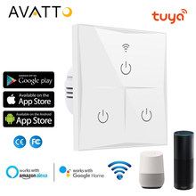 Avatto WIFI Touch Switch Uni Eropa Standar Kaca Panel Smart Wall Light Switch,1/2/3 Gang Bekerja dengan Tuya Aplikasi Alexa,Google Home(China)