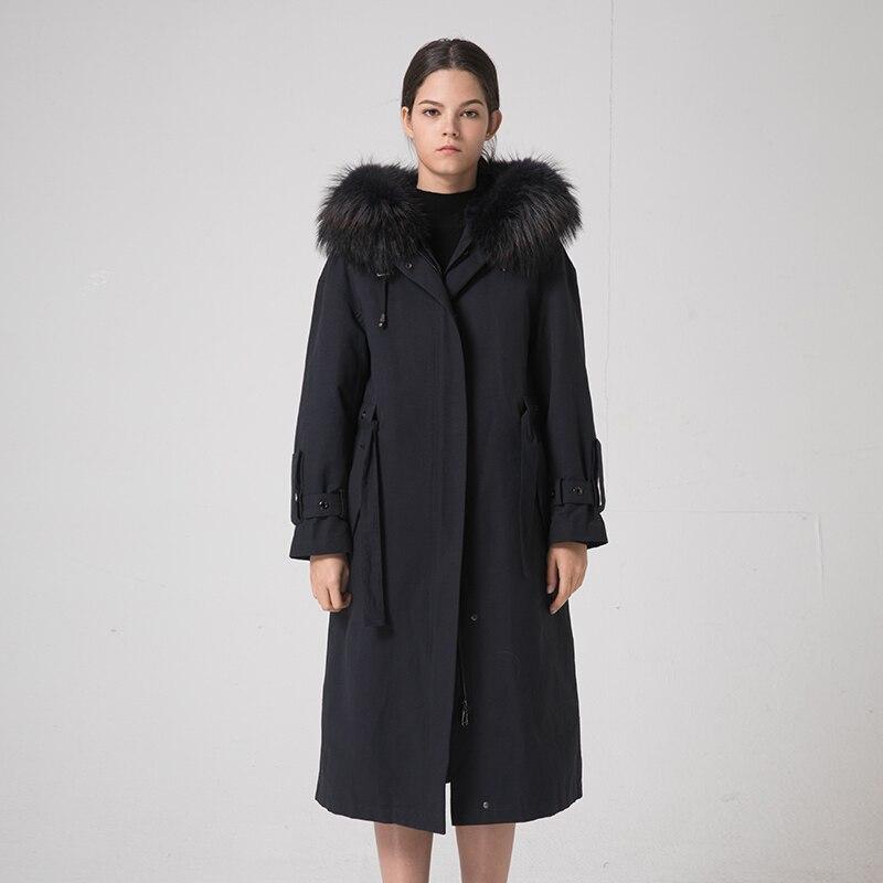Real Parka Fur Coat Female Natural Rabbit Fur Liner Long Coats 2020 Winter Jacket Women Raccoon Fur Collar Overcoat MY S