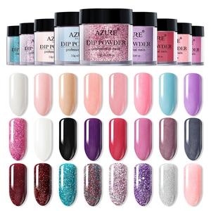 Image 1 - AZURE BEAUTY Новейший цветной порошок для дизайна ногтей, порошок для украшения, градиентный цвет, блестящий порошок для ногтей, 24 цвета, s Dip Powder