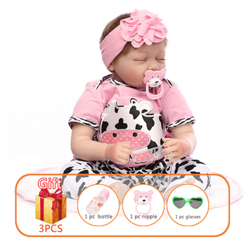 55cm NPK Reborn Baby Doll Silicone Limbs Cotton Body Simulate Real Baby Sleeping Pink Angel Reborn Toddler Doll Toy For Children