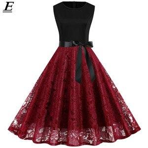 Summer Sleeveless Lace Dress Elegant Vintage Pin up 50s 60s Robe Retro Rockabilly Dress Plus Size S~3XL Party Vestidos 2020
