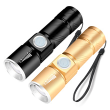 USB rear flashlight backlight convenient power LED 3 mode mini flashlight waterproof zoom focus lamp USB charger lighting