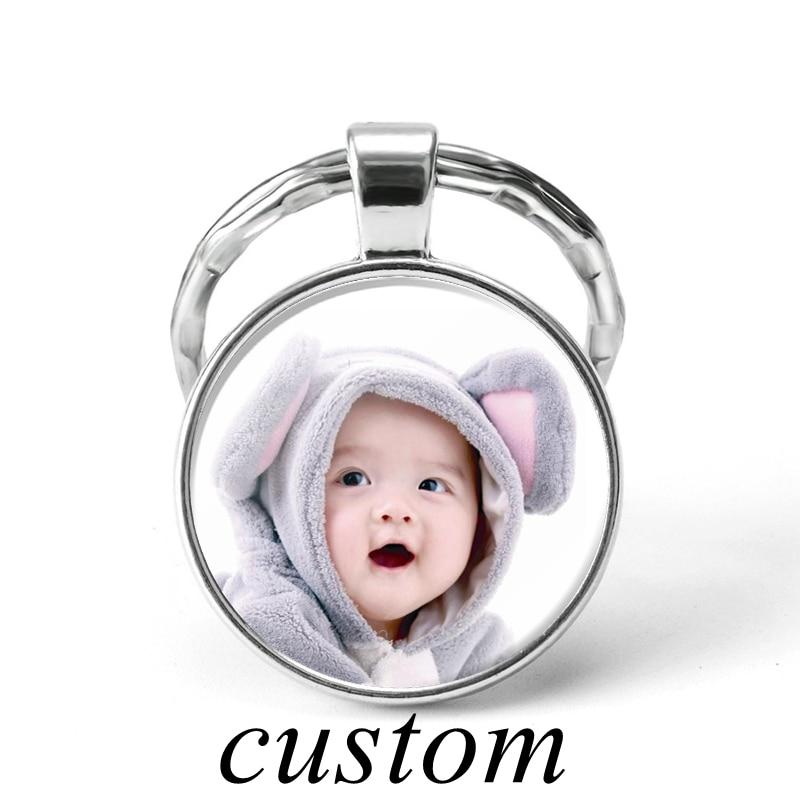 Handmade DIY Personalized Keychain Custom Baby Lover Pet Photo  Word Txt Logo Keyring Pendant Glass Dome Jewelry Birthday Gifts