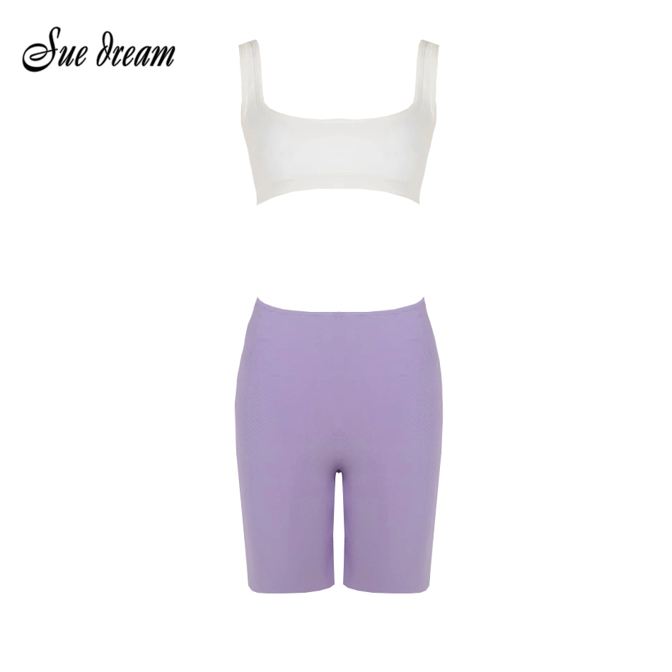 2020 Summer New Women'S 2-Piece Two-Piece Set White Short Top & Purple Shorts Elastic Tight Leisure Sexy Bandage Set