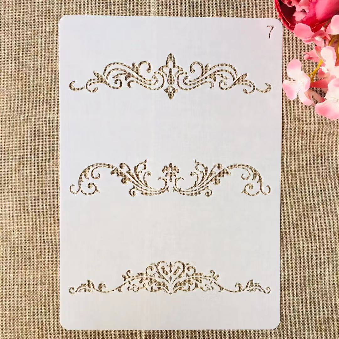 1Pcs A4 29cm Flower Border Edge Lines DIY Layering Stencils Painting Scrapbook Coloring Embossing Album Decorative Template