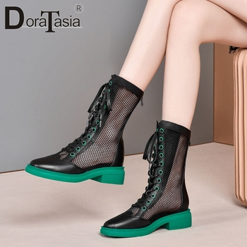 DORATASIA 2020 New Trendy Brand Summer Boots Street Fashion Boots Women Breathable Genuine Leather Summer Shoes Woman