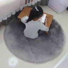 Carpet Soft Artificial Sheepskin Rug Skins Carpet Seat Pad Round Area Rugs Floor Mat 2 Colors Home Decorator Carpets For Kitchen(China)