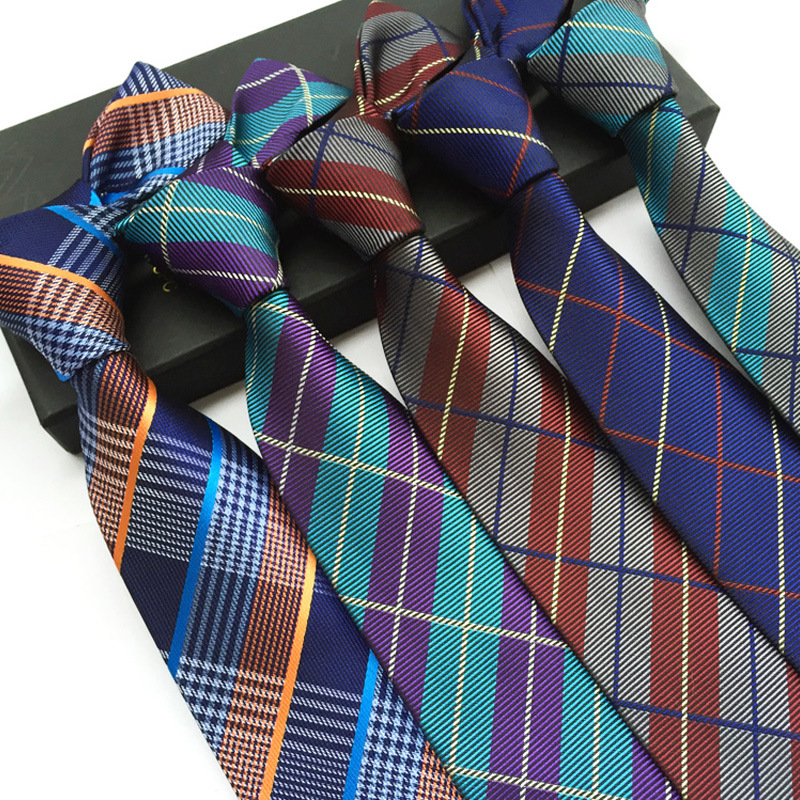 British Style Plaid Design 8CM  Neckties Polyester Material Best Gift For Men Business Work