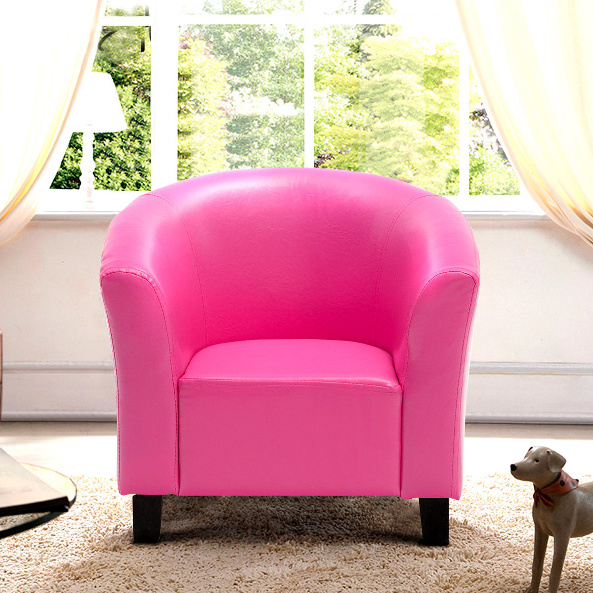 Costway PU Leather Kids Sofa Armrest Chair Couch Child Birthday Gift Living Room Rose