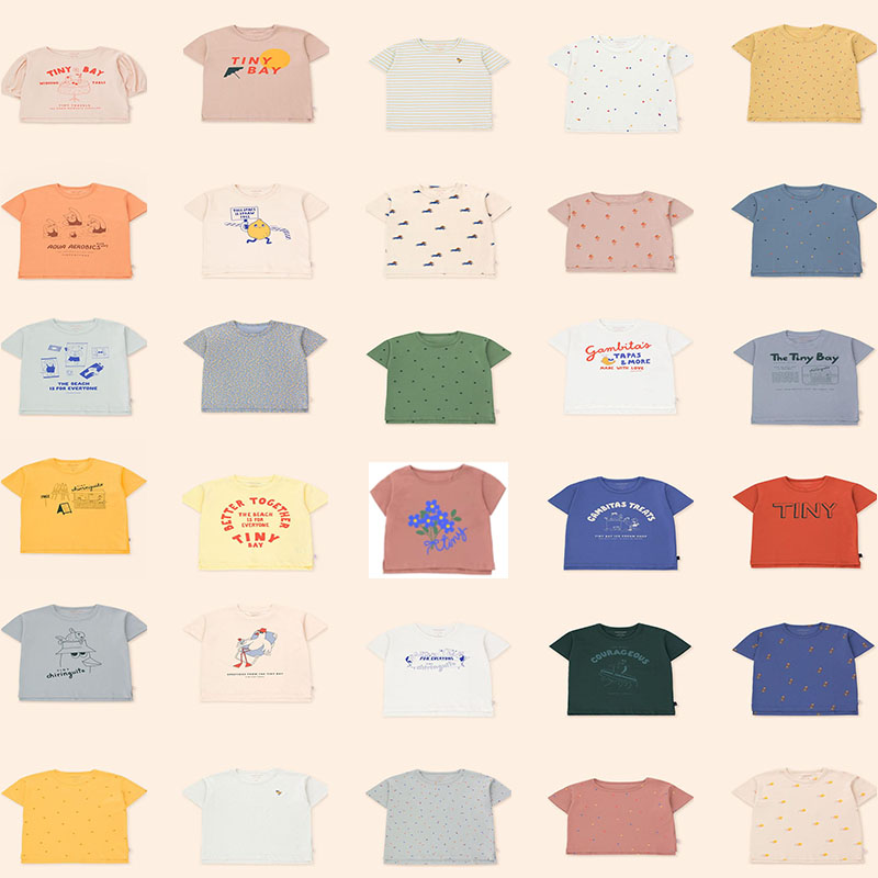 Крошечный 2021 TC сезон весна-лето новых детских футболок с короткими рукавами, футболка из хлопка, Детская рубашка с коротким рукавом с буквен...
