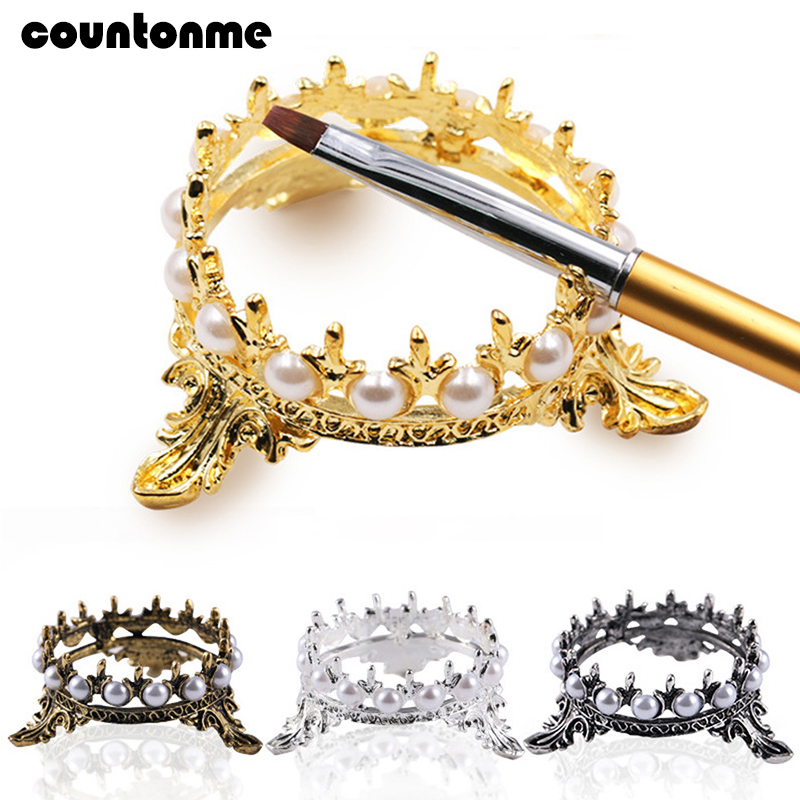 1pc Metal Crown Nail Brush Holder Pen Stand Display Salon Brush Rack Accessory Carving UV Gel Pen Carrier Storage Manicure Stand
