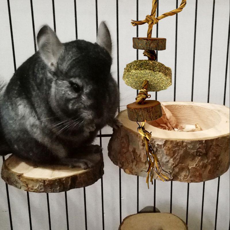 Rabbit Grass Cake Wooden Molar Toy Pet Chinchillas Hamster Bite String