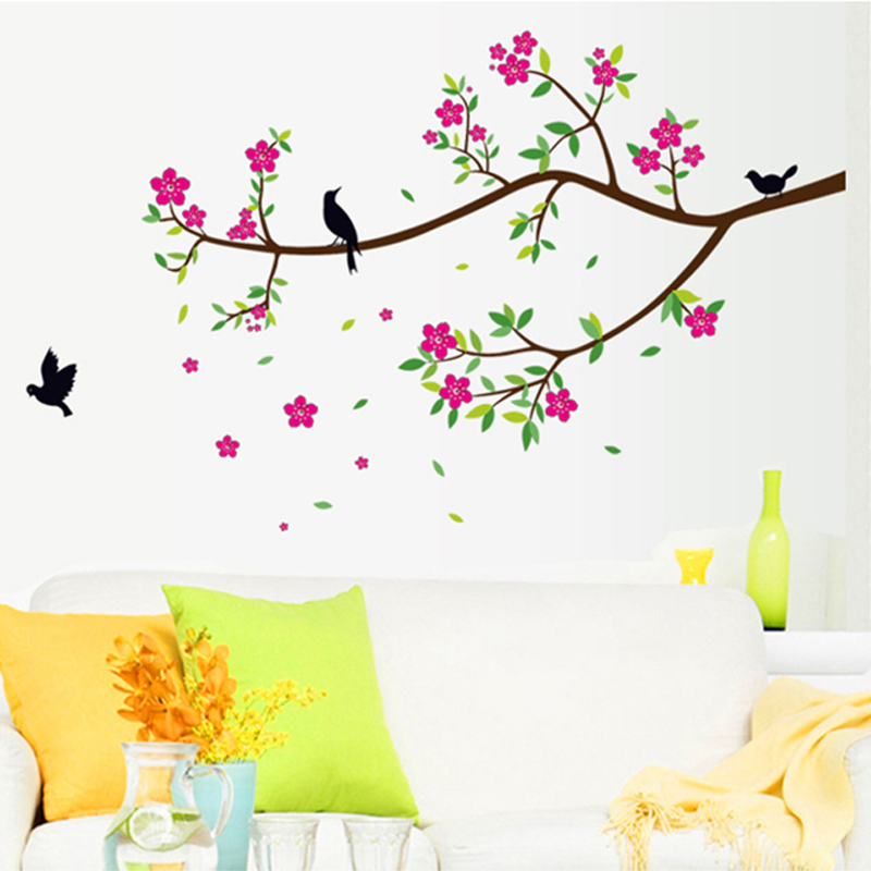 Removable Flowers Stikers Pink Peach Tree Birds Home Decoration Wall Stickers Living Room Bedroom Family Wall Decals Wall Stickers Aliexpress