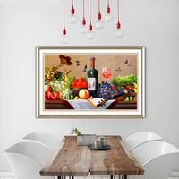 5D diamond painting embroidery fruit wine full round beads cross stitching needlwork cross stitch Christmas decorations for home