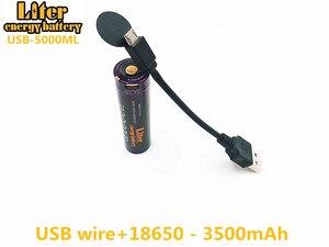 Image 3 - 2 pièces batterie dordinateur portable USB 18650 3500mAh 3.7V Li ion batterie rechargeable USB 5000ML Li ion batterie + fil USB