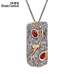 DreamCarnival1989 Fall Winter New Stone Age Collections Long Pendant Necklace for Women Black Gold Vintage Unique Red CZ WP6670