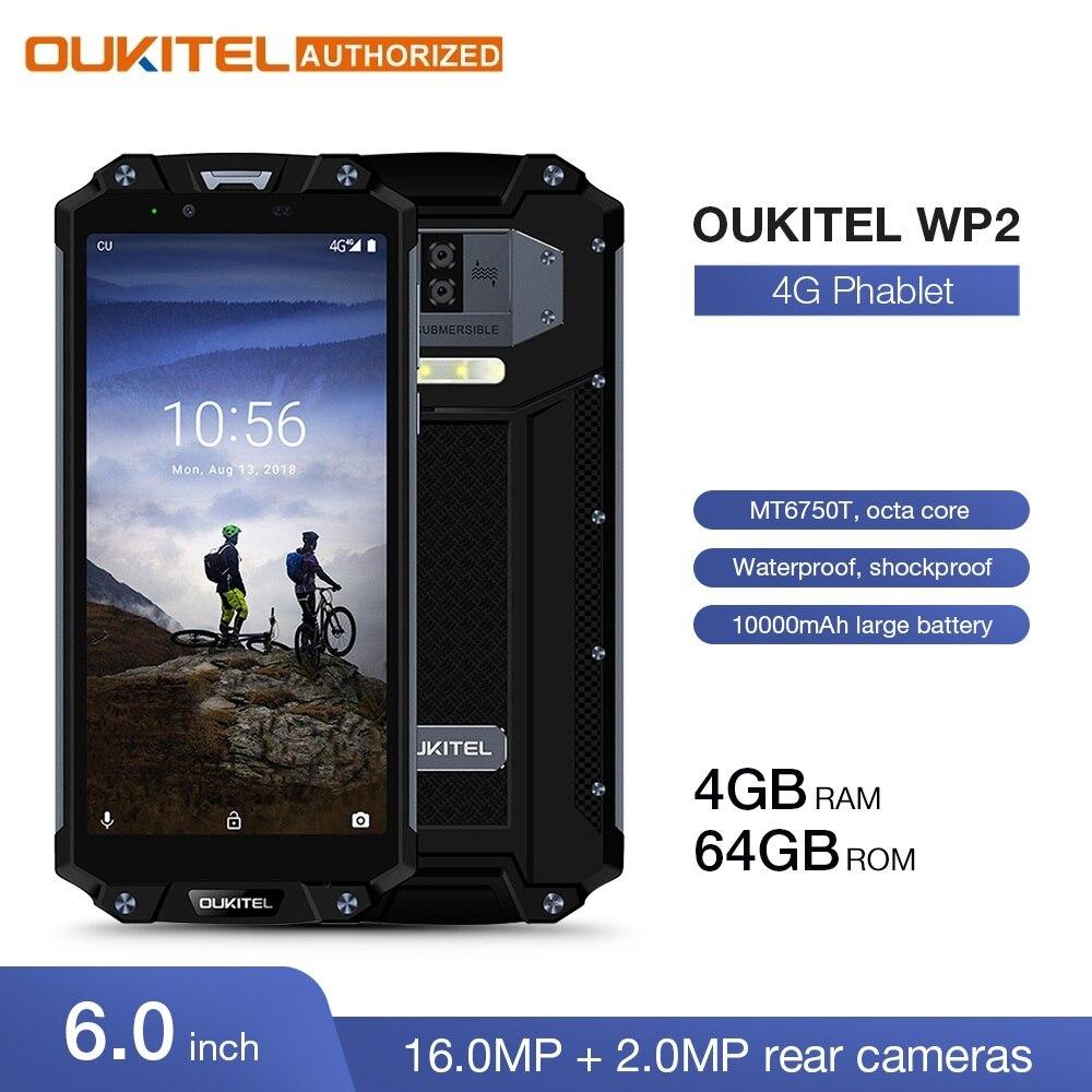 OUKITEL WP2 IP68 téléphone portable étanche à la poussière et aux chocs 4GB 64GB MT6750T Octa Core 6.0