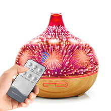 400ml Aromatherapy Machine Humidifier 3D Color Fireworks Night Light Glass Home Ultrasonic Essential Oil Spreader