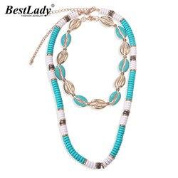 Melhor senhora moda verão concha colares para mulheres bohemain frisado strand collar gargantilha colares acessórios jóias por atacado