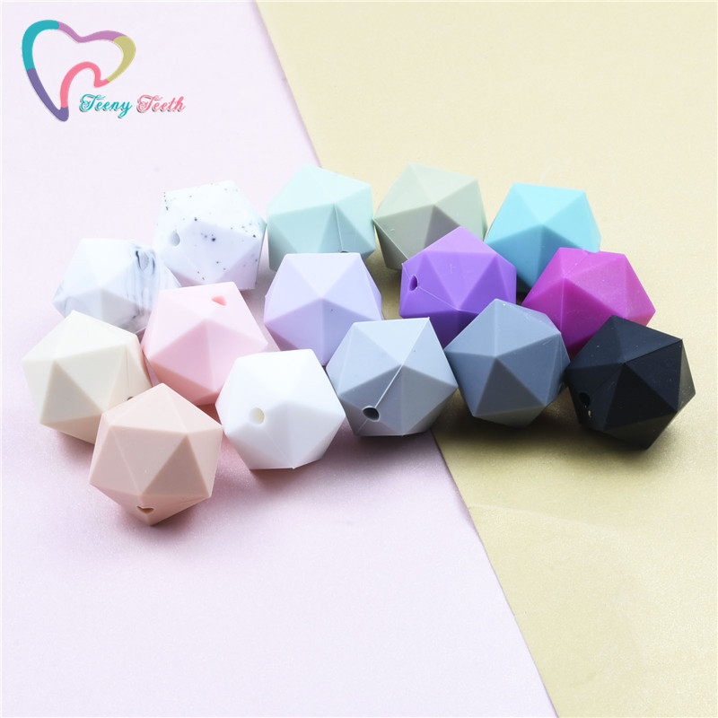 10Pcs Cube Silicone Teething Bead Chew Jewelry DIY Baby Necklace Teether Gifts Q