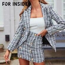 цены For Insider Tweed plaid blazer dress suit women Elegant bodycon two pieces set office ladies dresses Work dress autumn winter