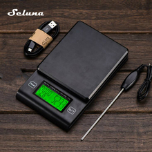 Coffee-Scale Timer Digital Food Electronic with Temperature-Probe Pour Over LCD Hand-Drip