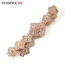 Sunspicems pełny kryształ górski pryzmatyczny marokański kaftan pas metalowy łańcuch talii etniczne biżuteria ślubna złoty kolor arabski prezent dla nowożeńców