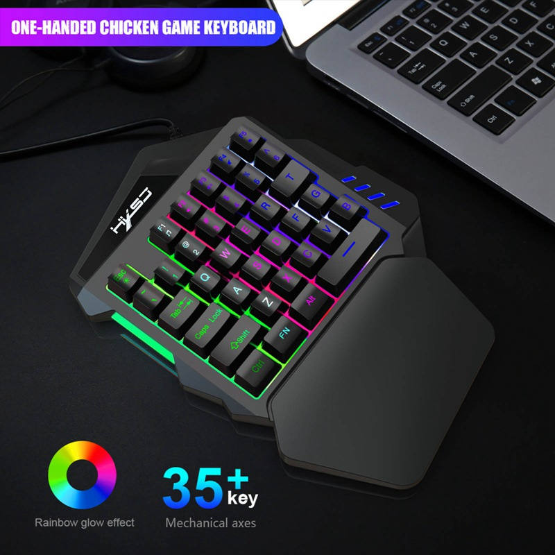 V100 35 Key Single Hand Membrane Mini 35 Keys Gaming Keyboard with USB Wired for PUBG LOL CS Gamer