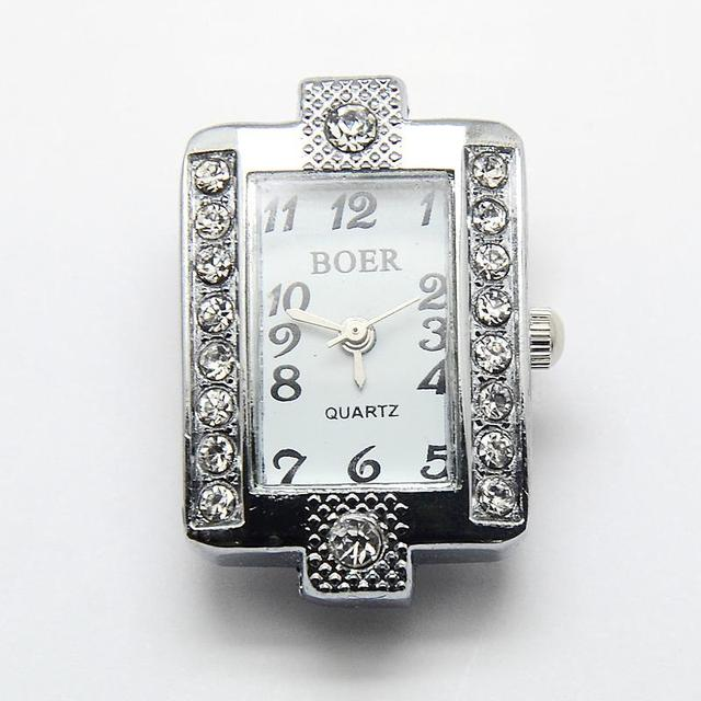 10pcs Alloy Rhinestone Mixed Shapes Watch Heads Watch Faces, Platinum, 26~34.5x19.5~26x7~8mm, Hole: 1mm | Fotoflaco.net
