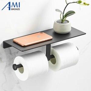 Image 1 - Черная краска, двойной бумажный держатель, настенные аксессуары для ванной комнаты, подставка для телефона, туалет, полка, пространство, алюминиевый материал