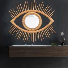 Зеркальная рама в форме глаз художественный декор из ротанга