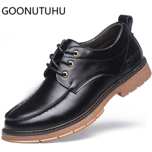 купить 2019 new fashion men's shoes casual leather male classic black and brown lace up shoe man nice waterproof shoes for men hot sale по цене 3321.69 рублей