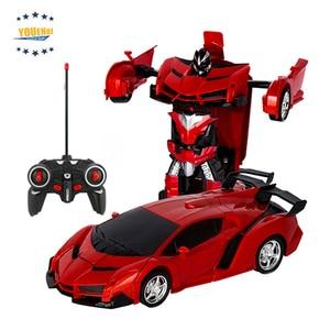 Image 4 - トランスカーロボット変形ロボットリモートコントロールカー 1 ボタン自動操作現実的なエンジン音