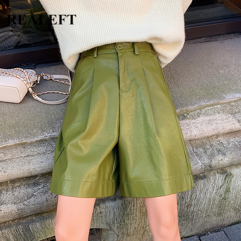 REALEFT Autumn Winter PU Leather Street Half   Pants   High Waist Green Chic   Wide     Leg     Pants   Vintage Trousers Pocket 2019 New Arrival