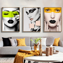 Modern Fashion Girl Makeup Wall Art Canvas Painting For Living Room,Girls Room Sexy Minimalism Decorative Pictures