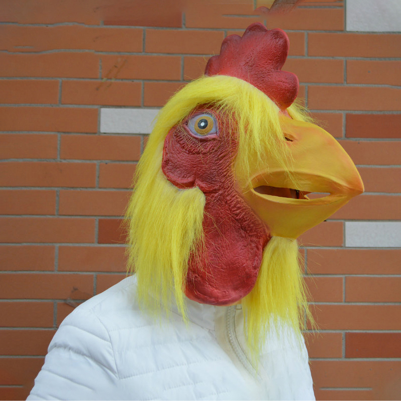 Rooster Mask Animal Fighting Chicken Hairy Cos Latex Kid Halloween Party Funny Scary
