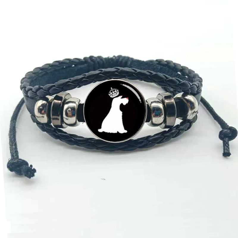 Bonita pulsera de cuero multicapa de perro salchicha, diseño artístico en forma de silueta Retro, perro bonito, pulsera con imagen de Avatar
