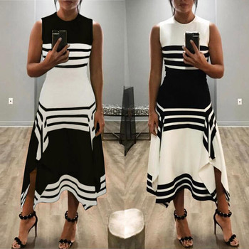 Women Stripe Sleeve Casual Dress Womens Round Neck Vestido Midi Party Dresses Ladies Printed O